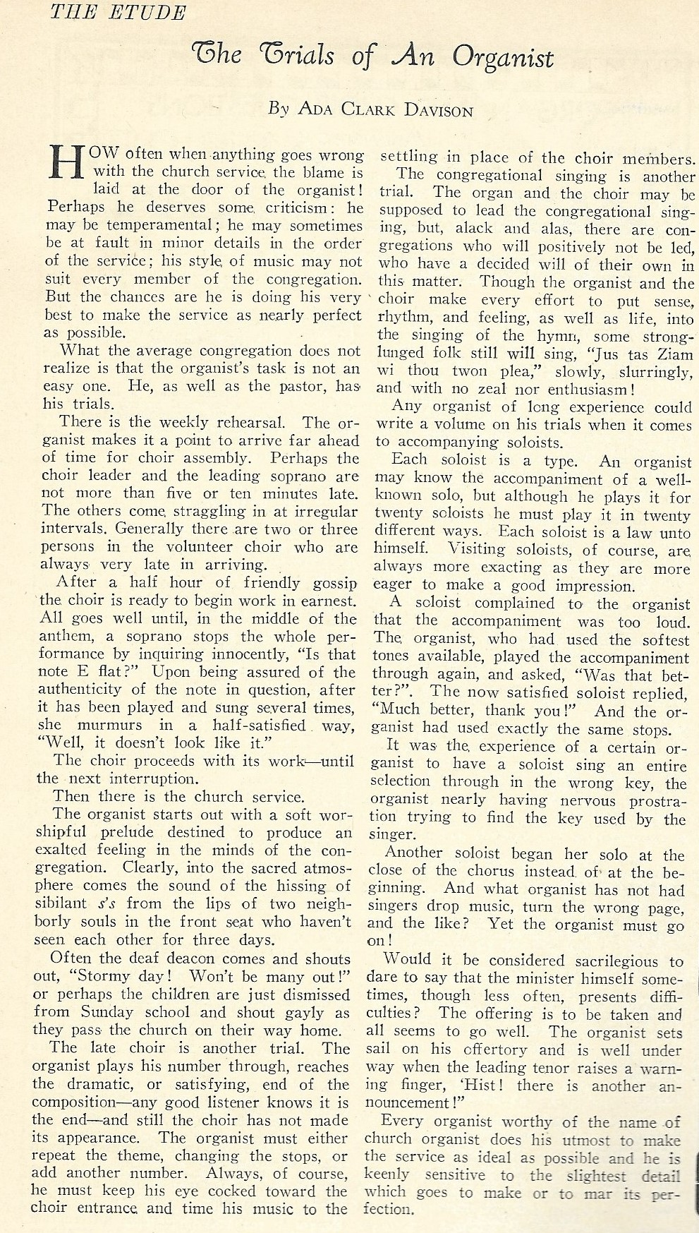 trials of an organist, the etude, march 1932